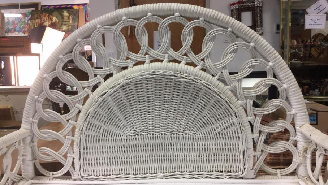White Toned Wicker and Wood Shelves - 7