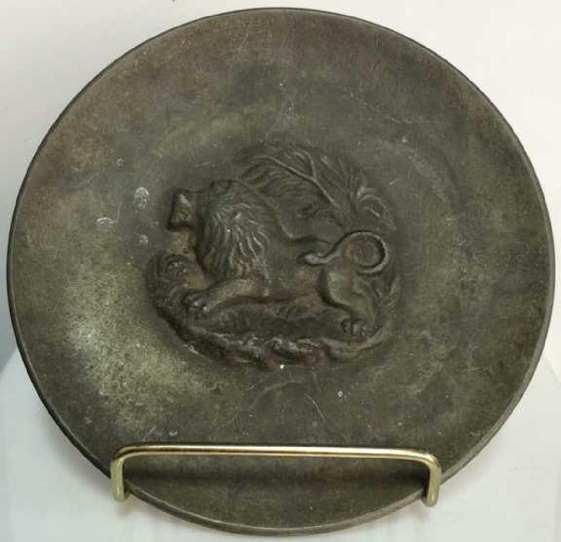 Decorative Relief Plate w Lion Possibly Bronze