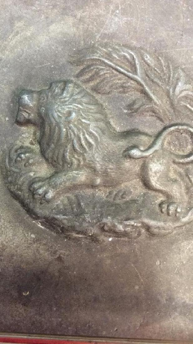 Decorative Relief Plate w Lion Possibly Bronze - 3