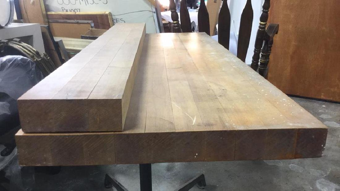 Iron and Wood Butcher Block Table Desk - 4