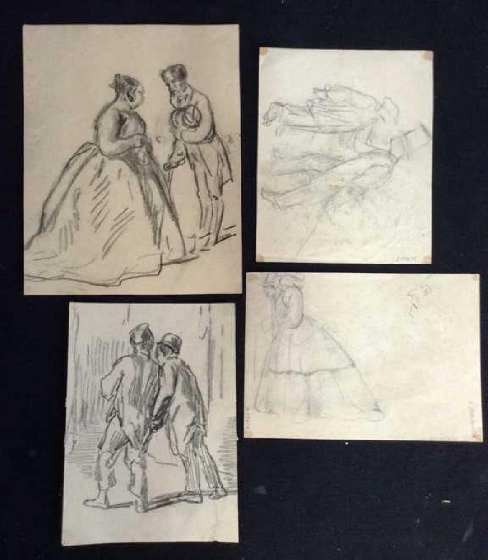 Lot 4 Signed Abel Damourette Charcoal Sketches