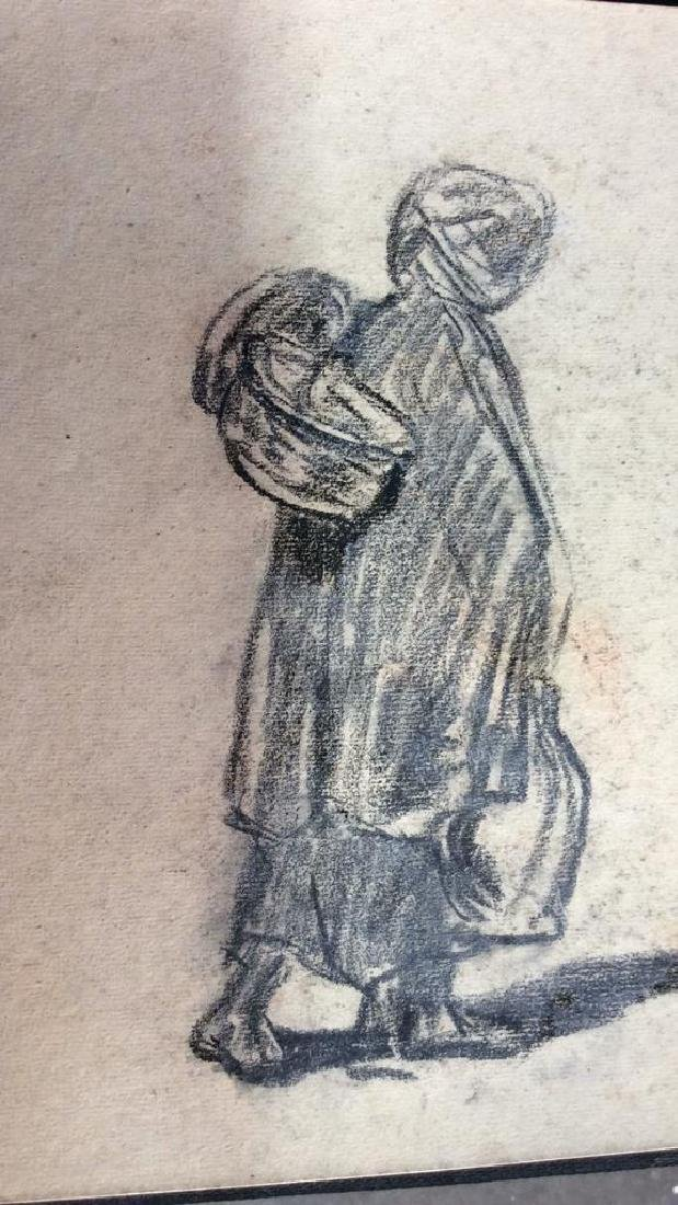 Lot 4 Signed Abel Damourette Charcoal Sketches - 5