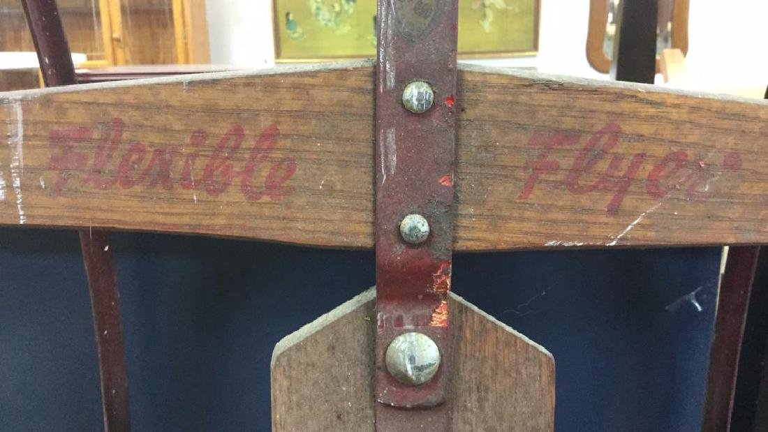 Vintage  Wood and Metal FLEXIBLE FLYER Sled - 3