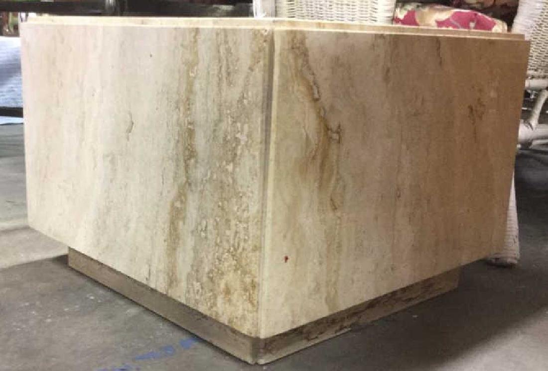 Cream Toned Stone Cube Side Table