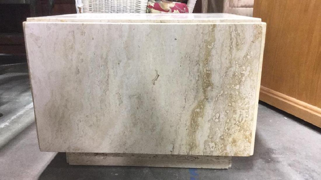Cream Toned Stone Cube Side Table - 2