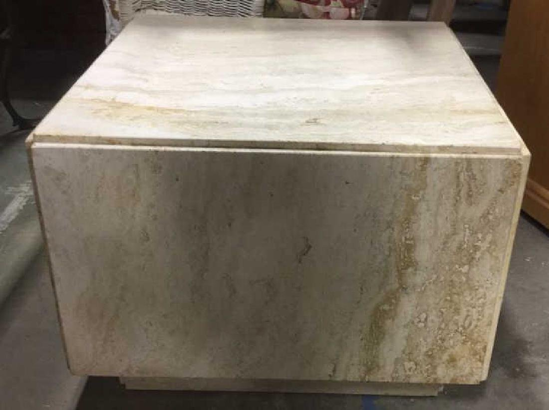 Cream Toned Stone Cube Side Table - 3
