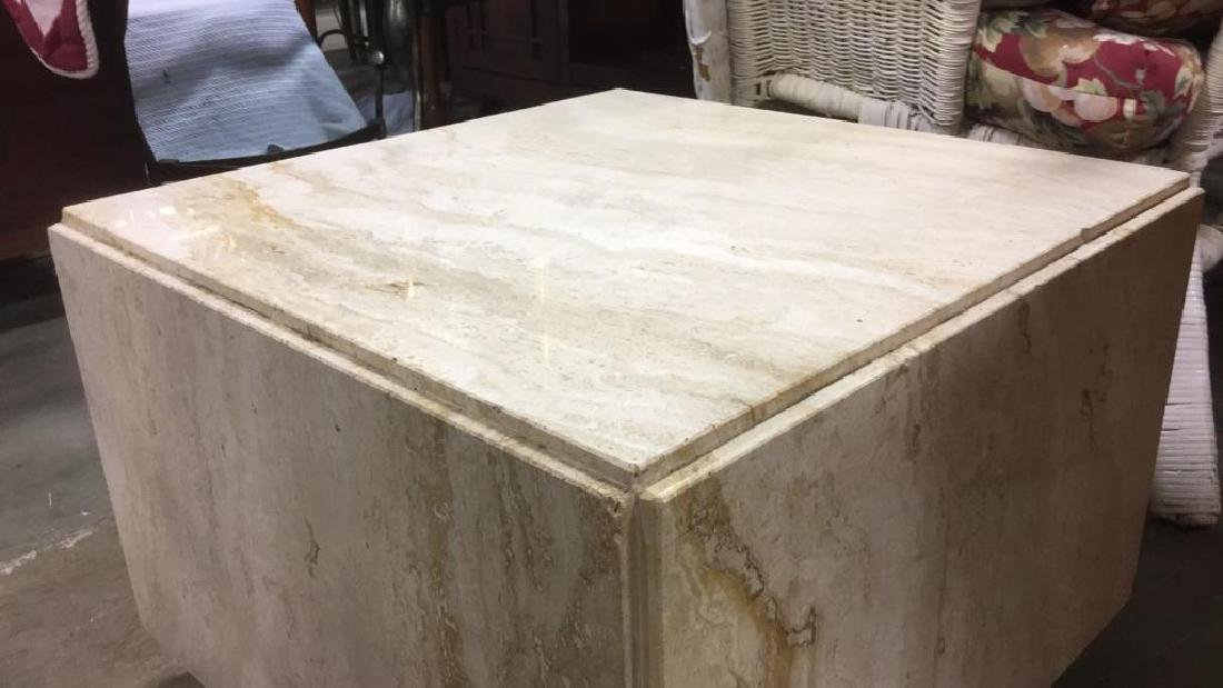 Cream Toned Stone Cube Side Table - 5