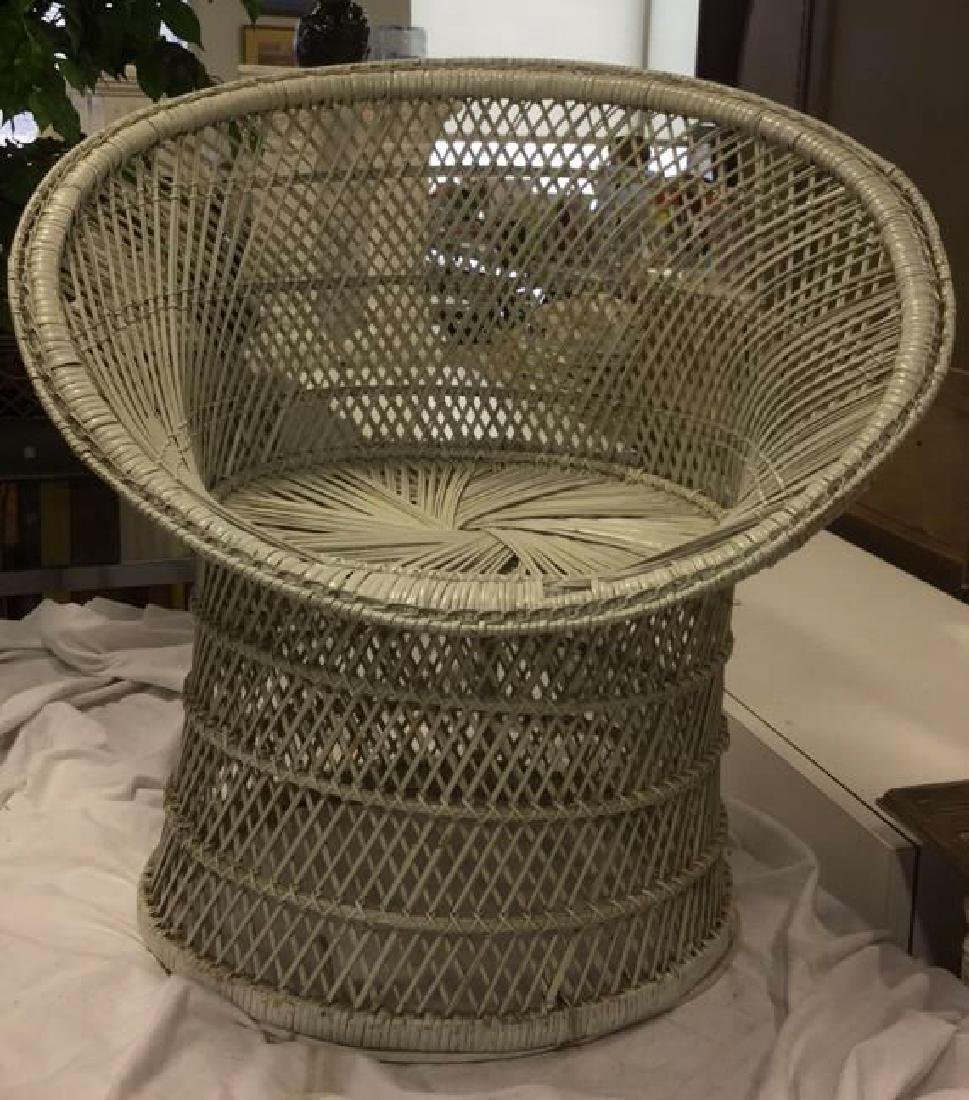 Vintage White Toned Woven Wicker Chair