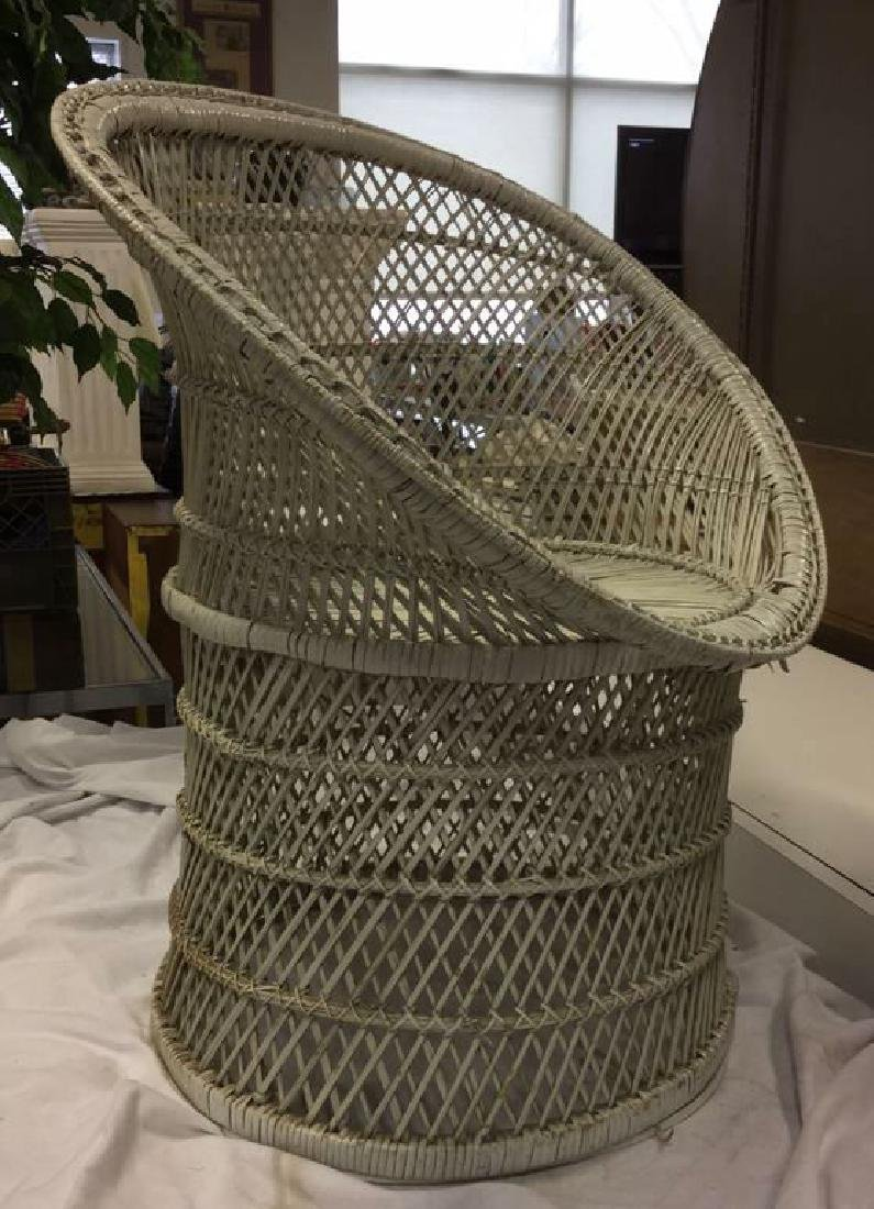 Vintage White Toned Woven Wicker Chair - 2