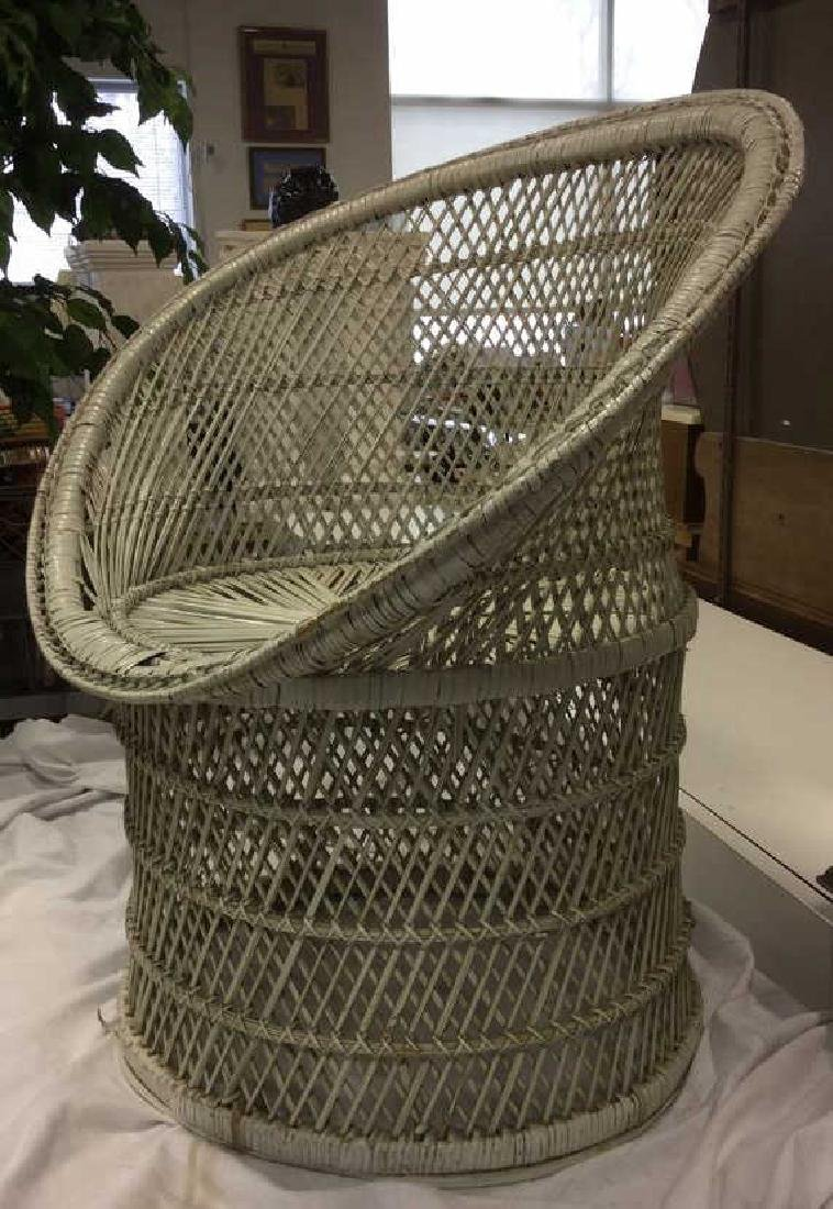 Vintage White Toned Woven Wicker Chair - 3