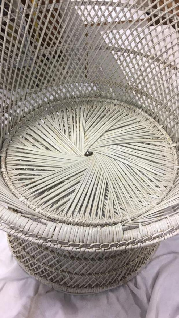 Vintage White Toned Woven Wicker Chair - 5
