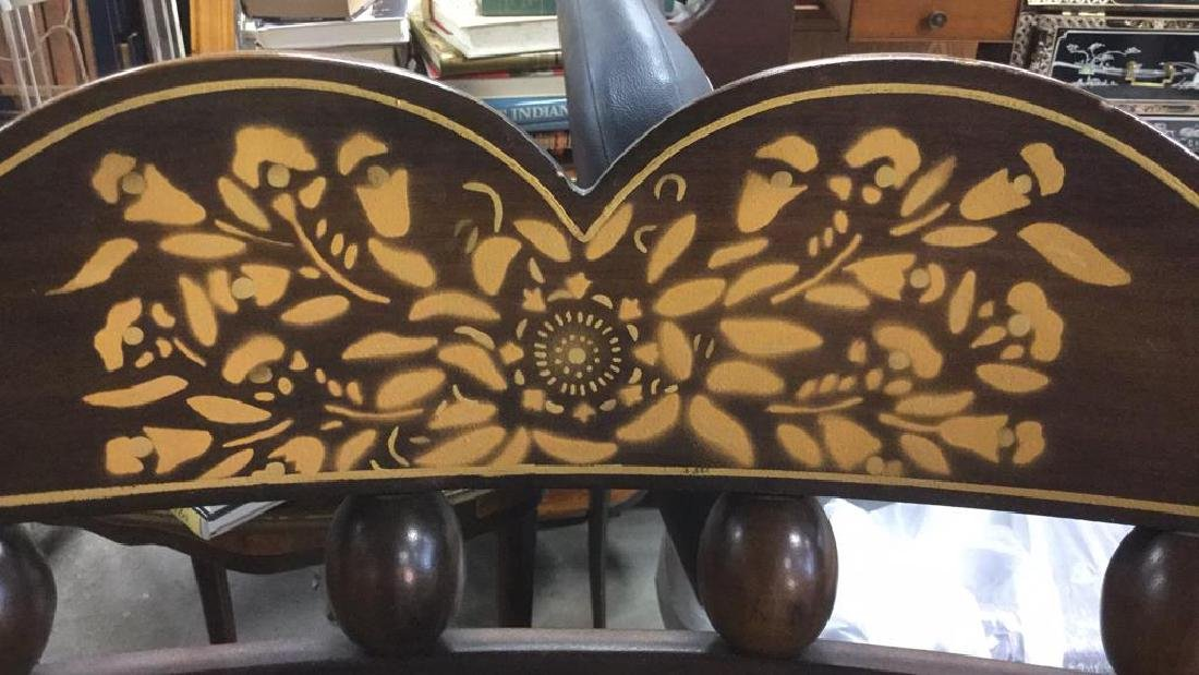 Carved Wooden Rocking Chair W Gold Toned Detail - 4