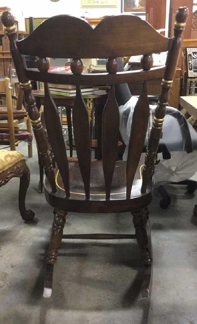 Carved Wooden Rocking Chair W Gold Toned Detail - 6