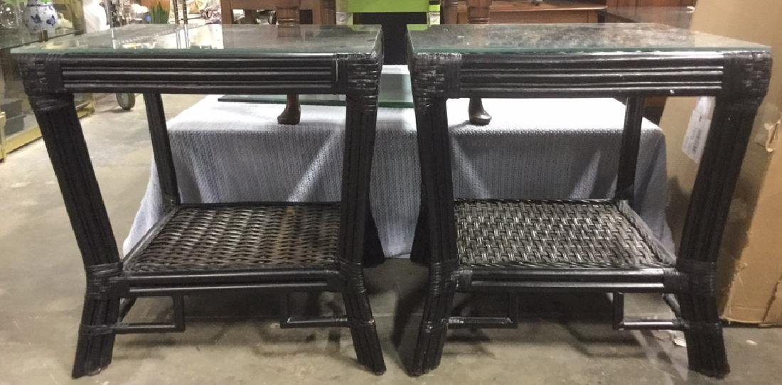 Pair Wicker & Bamboo Style Glass Top Side Tables