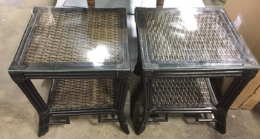 Pair Wicker & Bamboo Style Glass Top Side Tables - 2