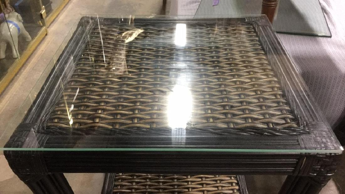 Pair Wicker & Bamboo Style Glass Top Side Tables - 4
