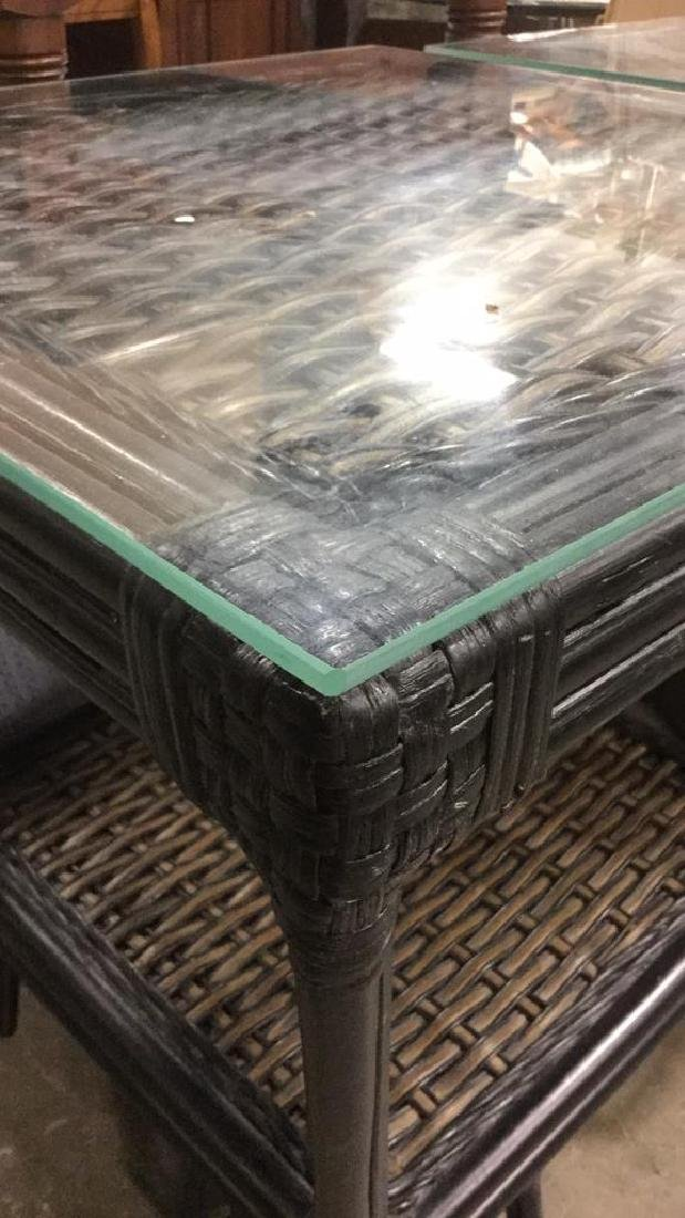 Pair Wicker & Bamboo Style Glass Top Side Tables - 5