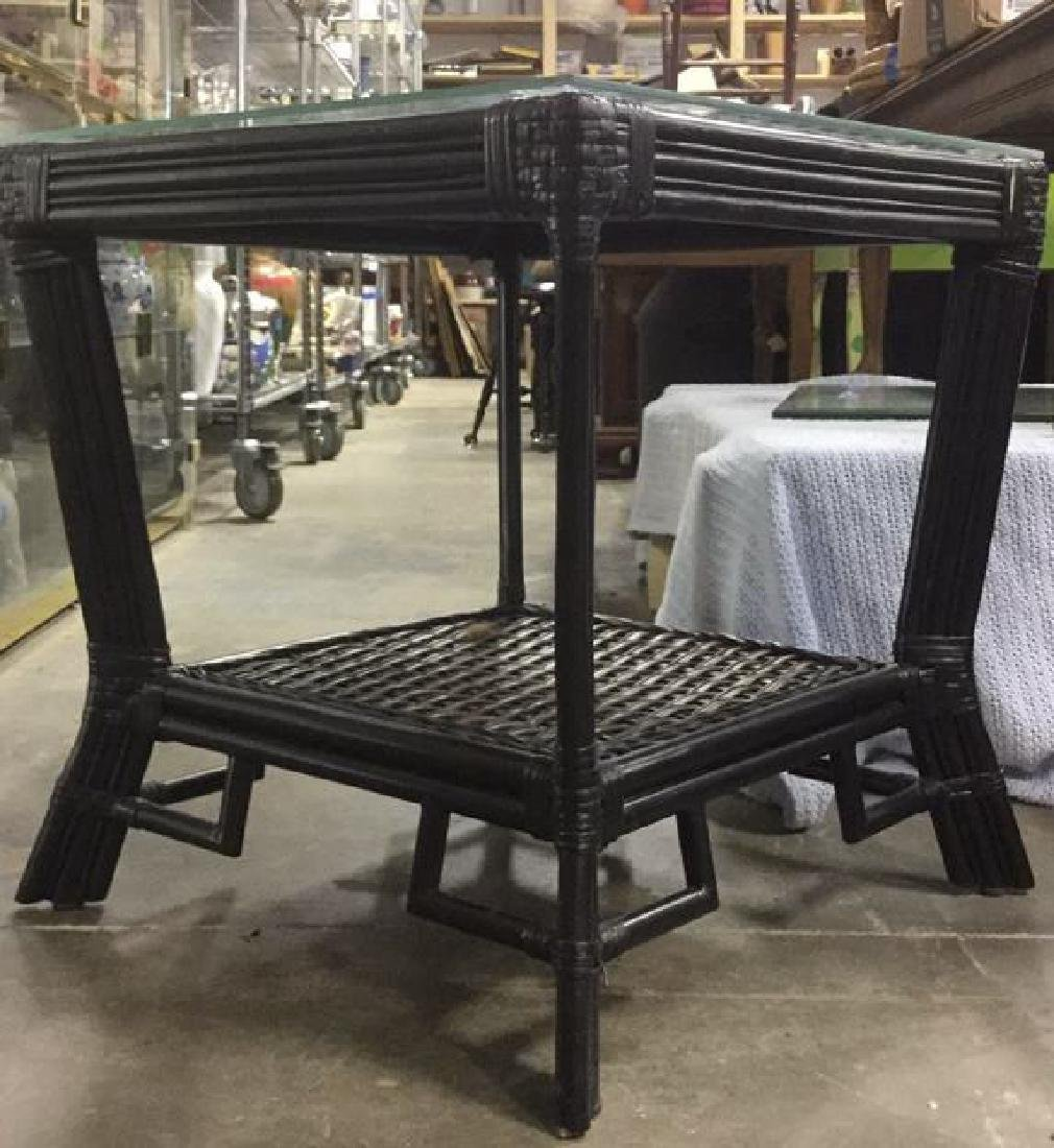 Pair Wicker & Bamboo Style Glass Top Side Tables - 6