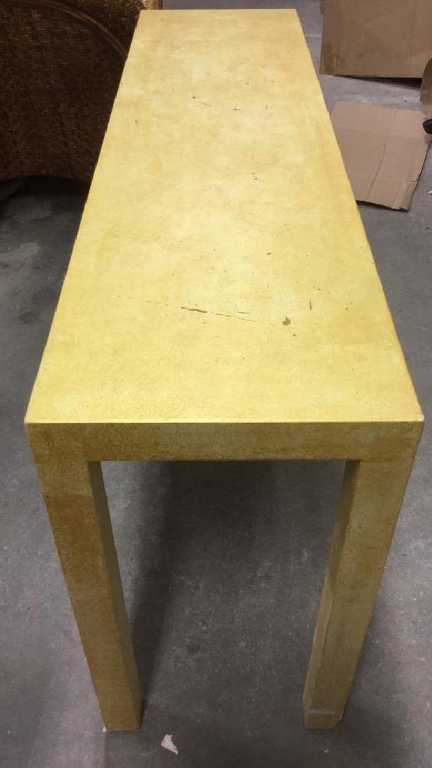 Gold Toned Wooden Parson's Style Console Table - 2