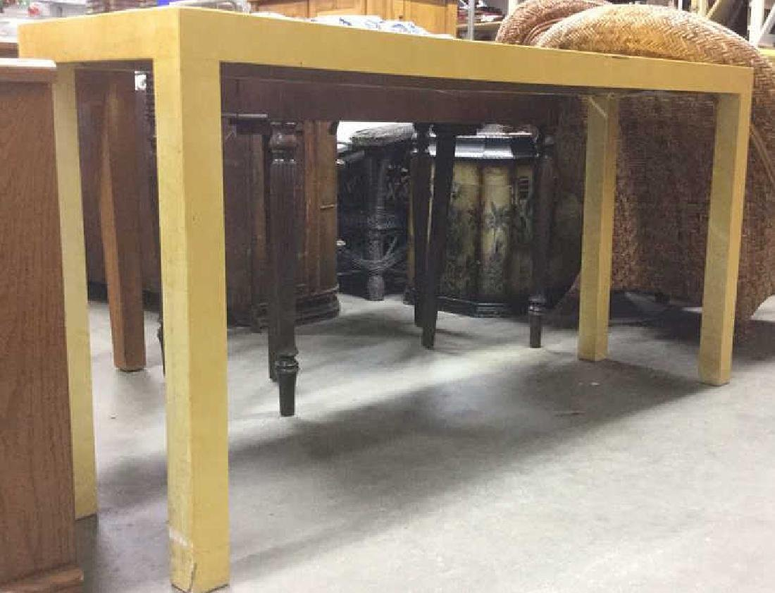 Gold Toned Wooden Parson's Style Console Table - 6
