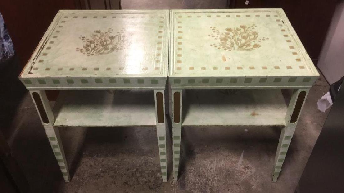 Pair Floral Detailed Wooden Side Tables