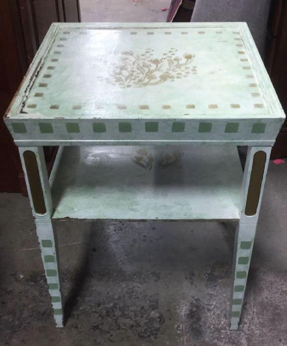 Pair Floral Detailed Wooden Side Tables - 5