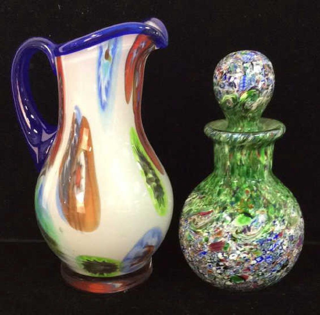 Art Glass Perfume Bottle And Pitcher