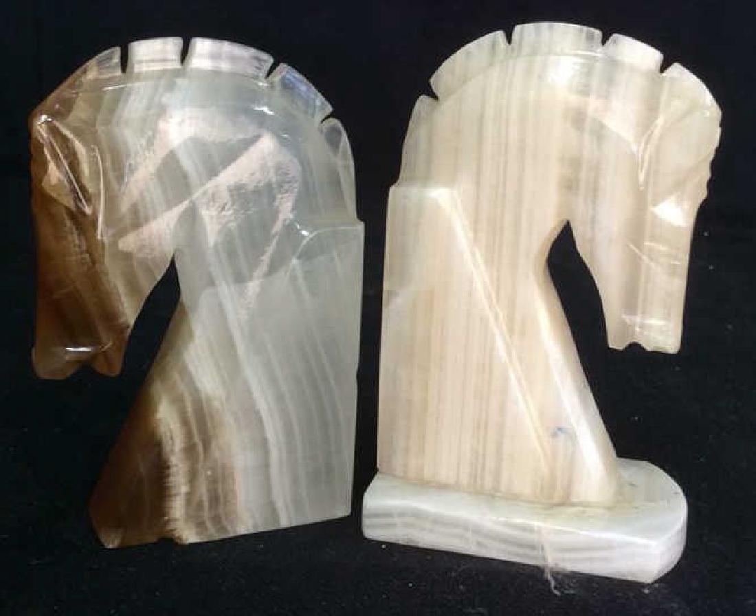 Pair Onyx Sculpted Horse Head Book Ends
