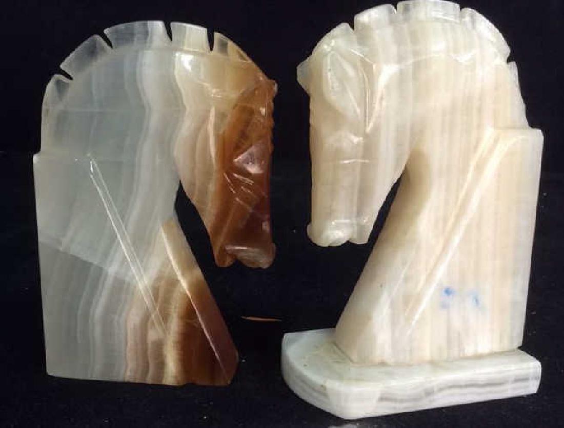 Pair Onyx Sculpted Horse Head Book Ends - 2