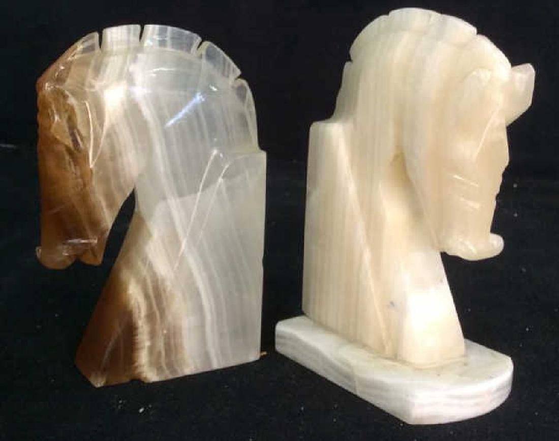 Pair Onyx Sculpted Horse Head Book Ends - 4