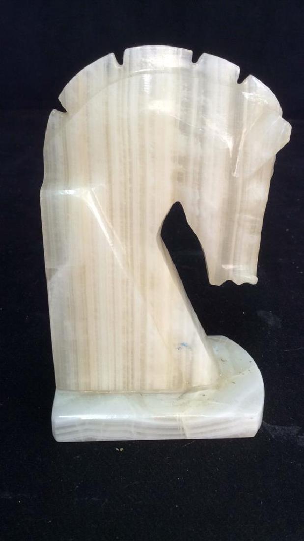 Pair Onyx Sculpted Horse Head Book Ends - 5