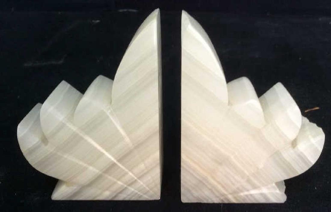Pair Sculpted Onyx Book ends