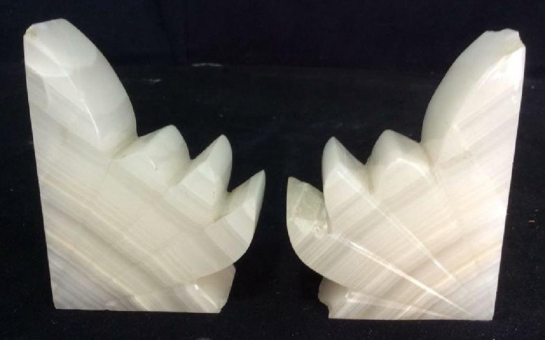 Pair Sculpted Onyx Book ends - 3