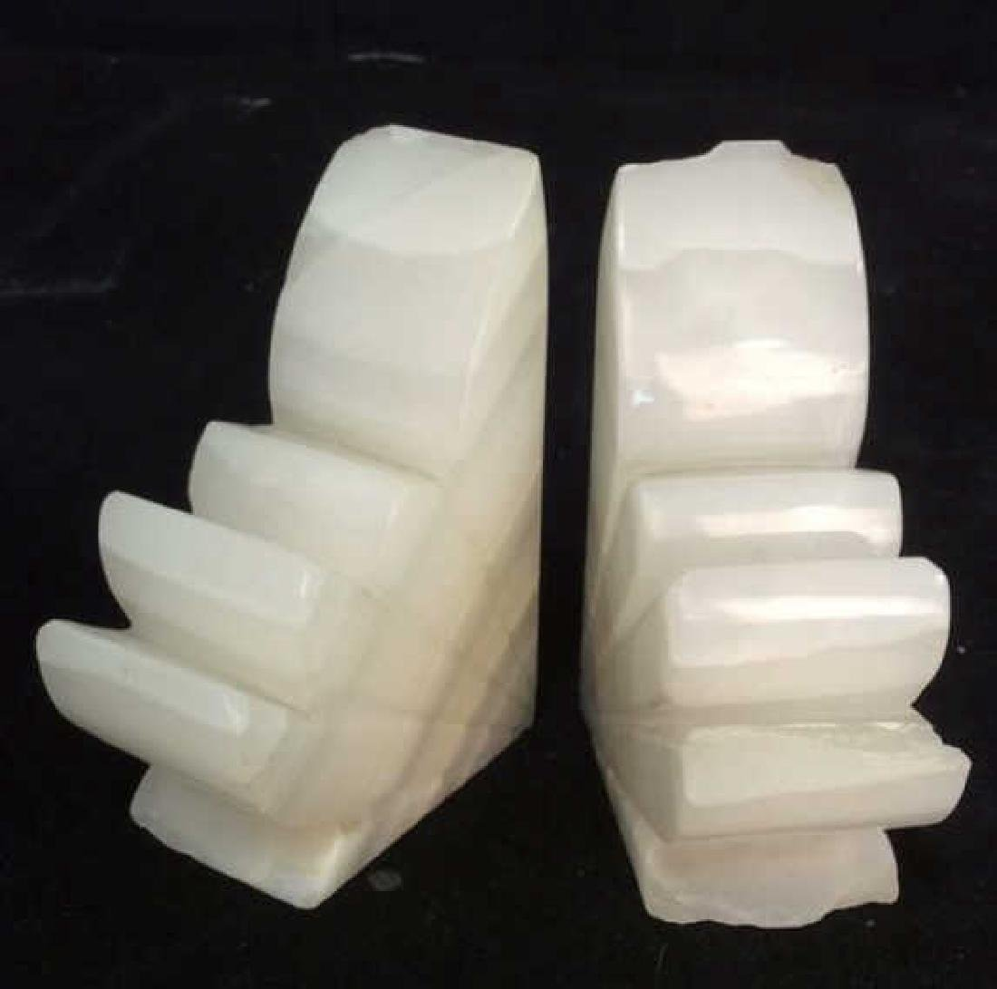Pair Sculpted Onyx Book ends - 6