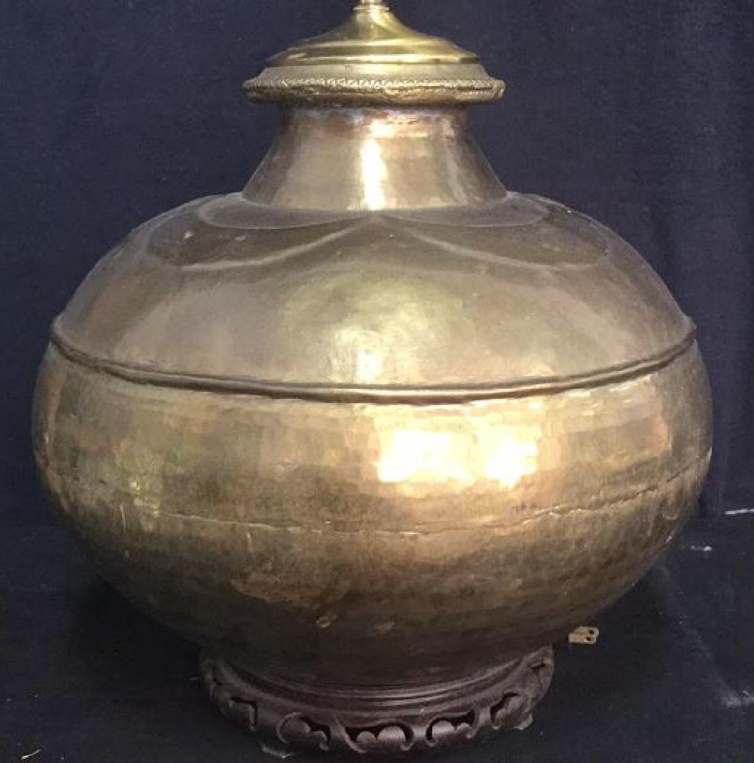 Gold Toned Orb Form Brass Lamp W Wood Base