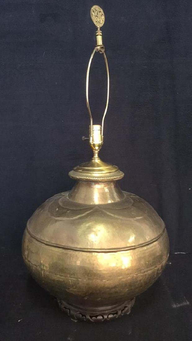 Gold Toned Orb Form Brass Lamp W Wood Base - 2