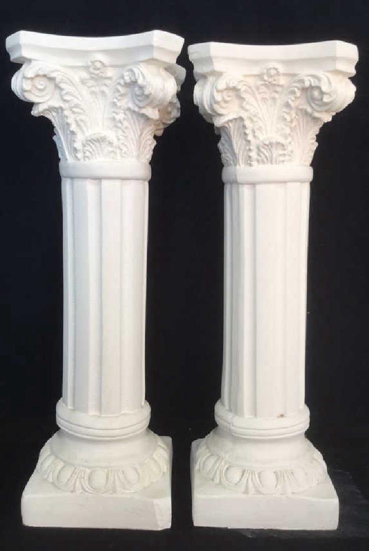 Pair  Grecia Style White Toned Columns