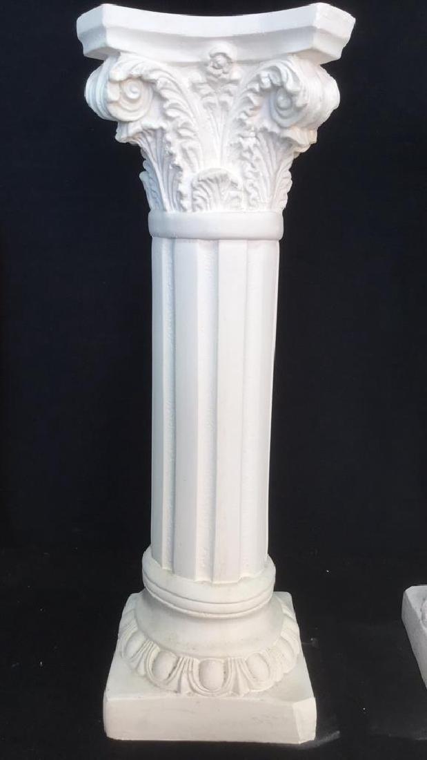 Pair  Grecia Style White Toned Columns - 2