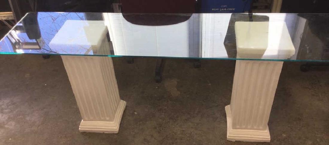 Lot 3 Glass Table Top W 2 Column Legs