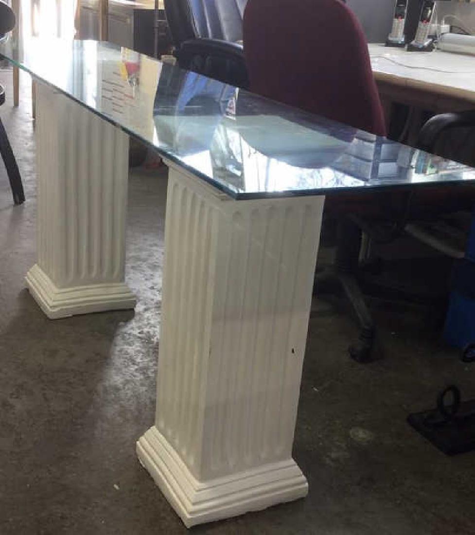 Lot 3 Glass Table Top W 2 Column Legs - 2