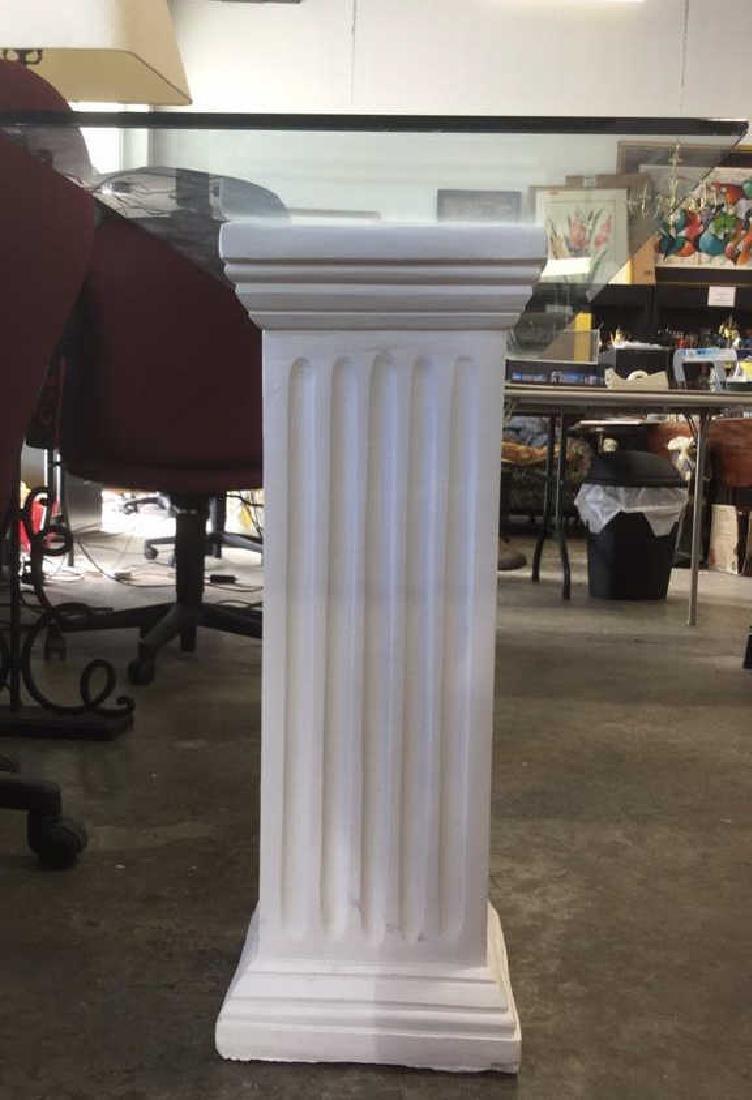 Lot 3 Glass Table Top W 2 Column Legs - 4