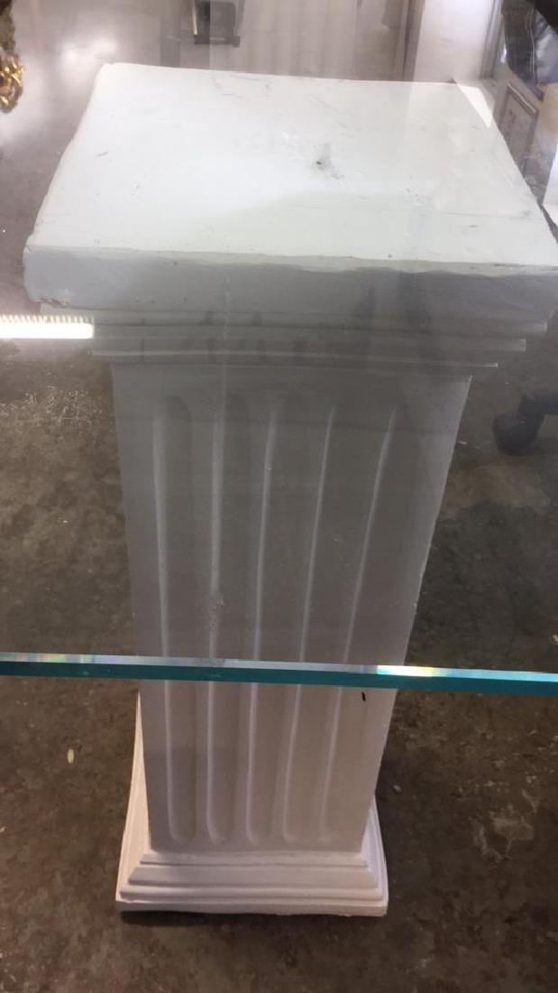 Lot 3 Glass Table Top W 2 Column Legs - 5