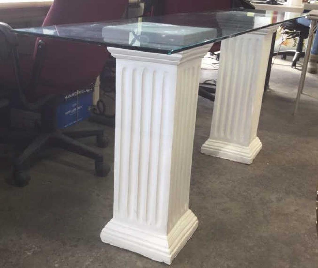 Lot 3 Glass Table Top W 2 Column Legs - 6