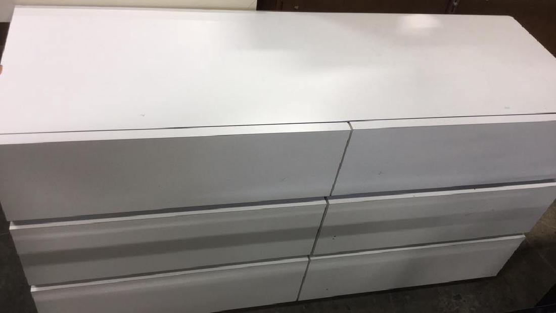 White Toned 6 Drawer Dresser