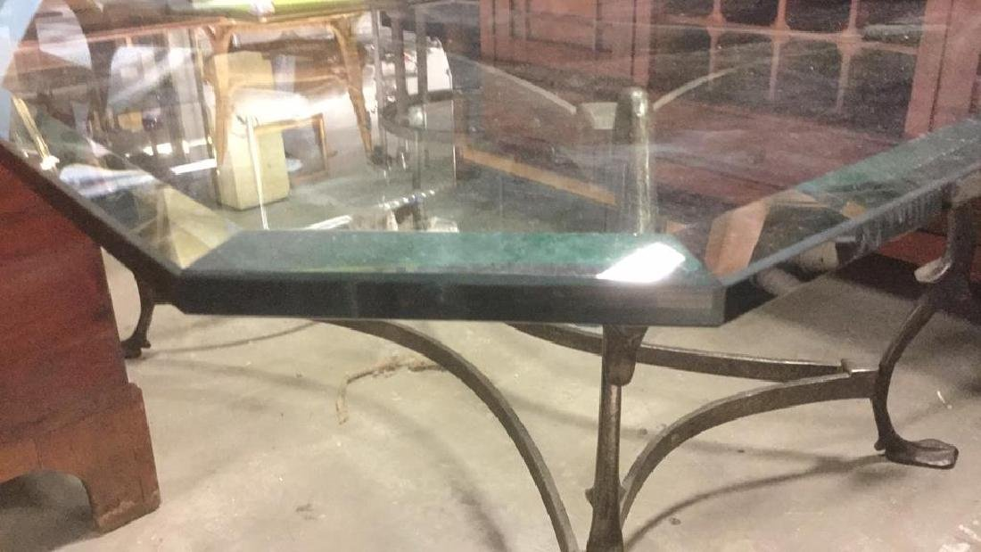 Beveled Glass and Forged Iron Coffee Table - 3