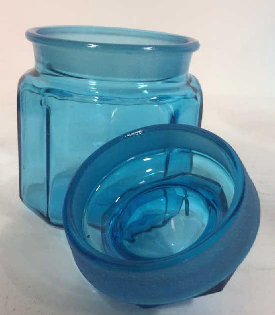 Lot 3 Aqua Toned Glass Mason Jar Set - 5