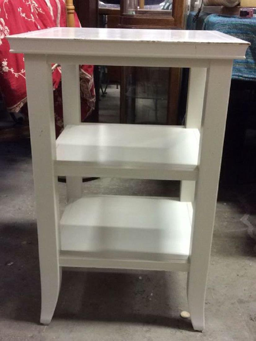 White Toned Wooden Side and Utility Table