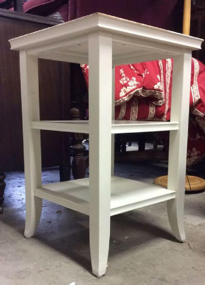 White Toned Wooden Side and Utility Table - 2