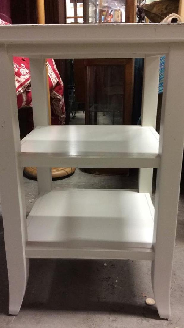 White Toned Wooden Side and Utility Table - 4