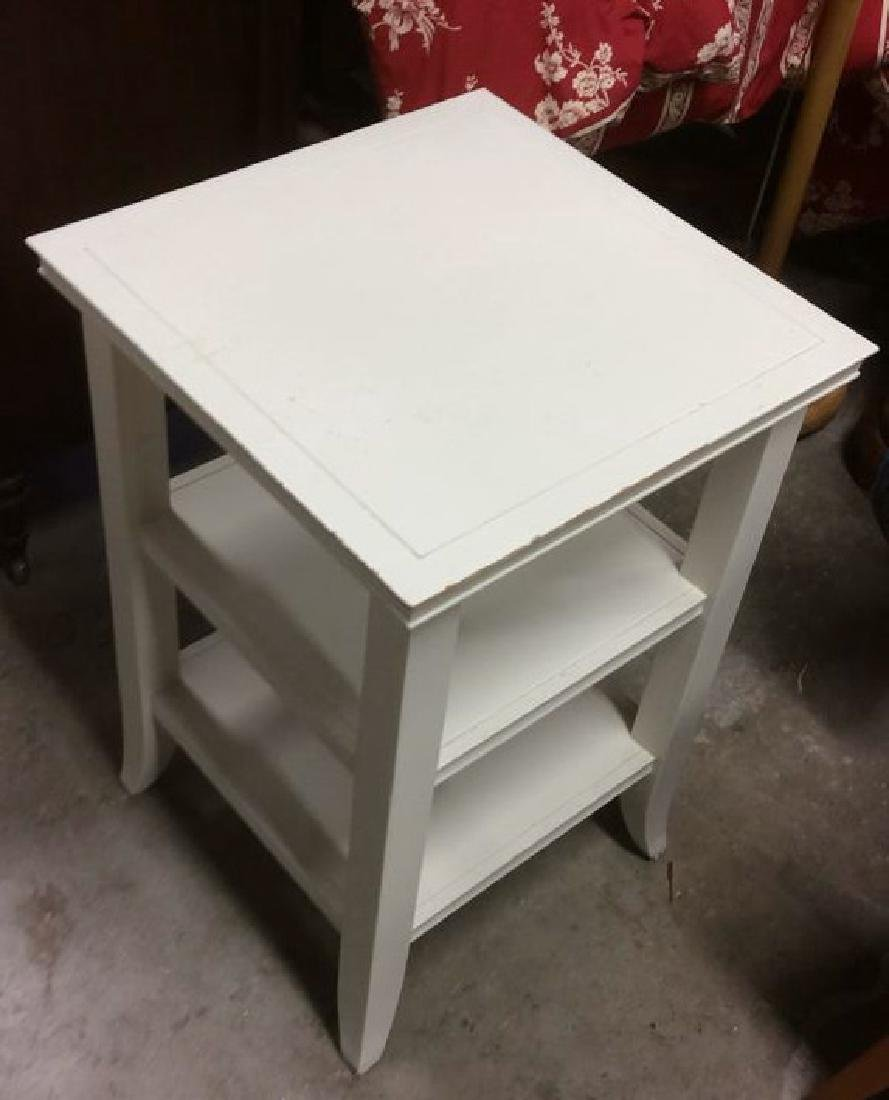 White Toned Wooden Side and Utility Table - 5